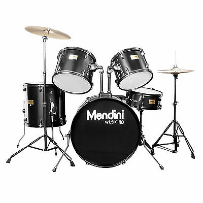 Mendini Black 5-Piece Complete Adult Drum Set +Cymbal+Throne ~MDS80-BK