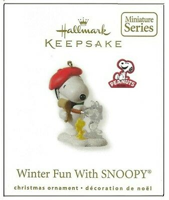 2010 Hallmark Peanuts Winter Fun With Snoopy Miniature Ornament!
