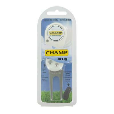 Champ Golf Flix Pitchfork and Magnetic ball Marker (White)