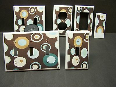 Light Switch Cover Plate Or Outlet Dots Brown Blue Teal Home Decor
