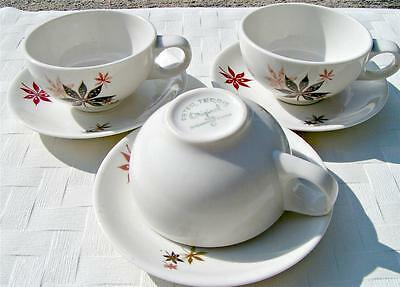 Calico Leaves by Shenango Peter Terris LOT of 3 CUPS + 3 SAUCERS vintage B7,8