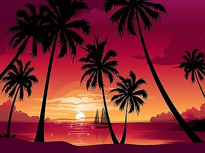 Tropical Palm Tree Sunset Paradise  Silhouette Boat  Computer Mouse Pad 9 X 7