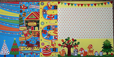 """Bright & Colourful Christmas Papers x 8    *30cm x 30cm (12"""" x 12"""")"""