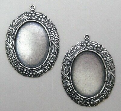 #1728 ANTIQUED SS/P 25x18 BORDERED BEZEL W/TOP HANG RING - 2 Pc Lot