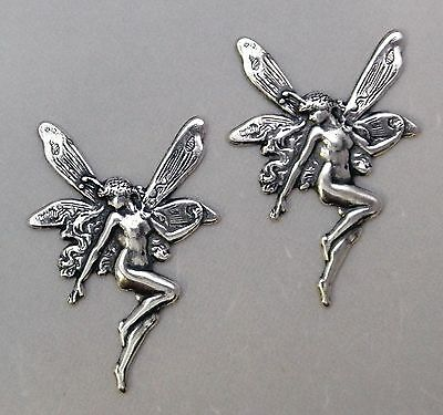 #1676 LARGE ANTIQUED SS/P CLASSIC FAIRY - 2 Pc Lot