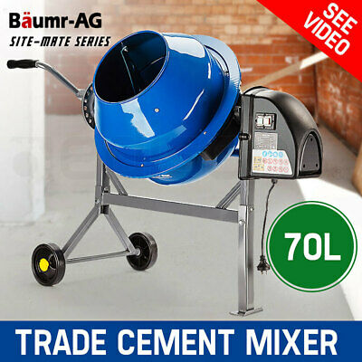 Baumr-AG 70L Portable Cement Concrete Mixer Electric Construction Sand Gravel