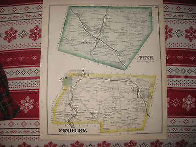 Antique 1873 Pine Findley Township Mercer City County Pennsylvania Hndclr Map Nr