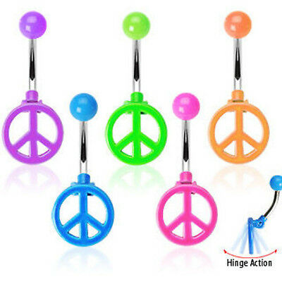 B#155 - 5pcs Peace Sign Neon Belly Rings Navel naval