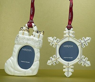 Mikasa Holiday Glory--Snowflake/Stocking Photo Frame