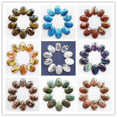 10pcs 25x18mm Mixed Natural Gemstone Oval CAB CABOCHON Choose Your Stone! XJ-248