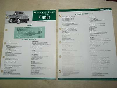 Vtg IH International Sales Brochure~Fleetstar F-1910A Trucks~Specifications