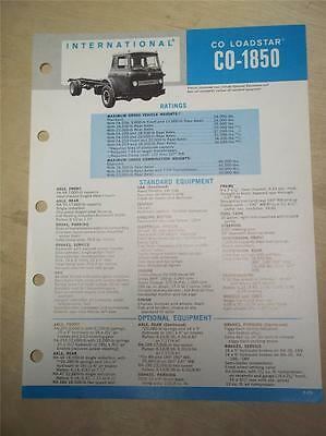 Vtg IH International Sales Brochure~Loadstar CO-1850 Trucks~Specifications