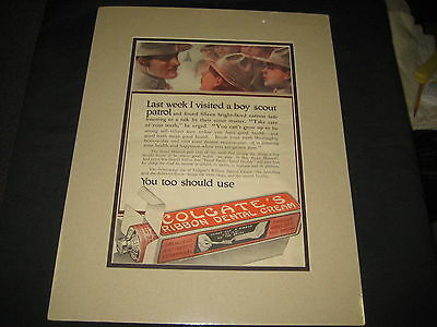 Boy Scout Colgate Advertisement, matted, 1910-20s   cp