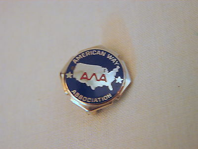 Estate Sterling Silver Amway American Way Service Pin, Enamel on Sterling, VNice