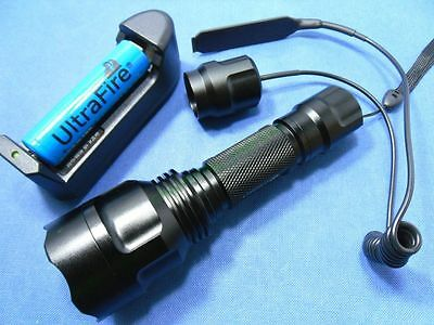 Tactical CREE XM-L T6 LED 1-Mode 1300Lm Flashlight Torch + 18650 Set + Remote C8