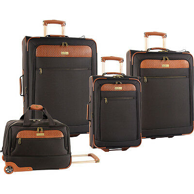TOMMY BAHAMA CHOCOLATE BROWN RETREAT II 4 PIECE LUGGAGE SET $1480 VALUE