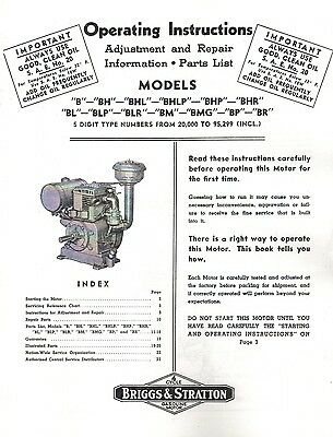 Briggs & Stratton B Models Operating Instructions & Parts List Book Manual