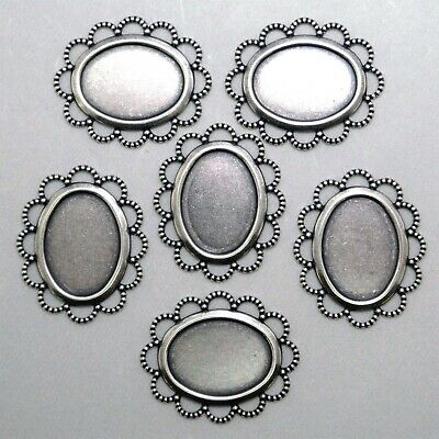 #3051 ANTIQUED SS/P FLAT LACY BORDERED 18x13 BEZEL - 6 Pc Lot