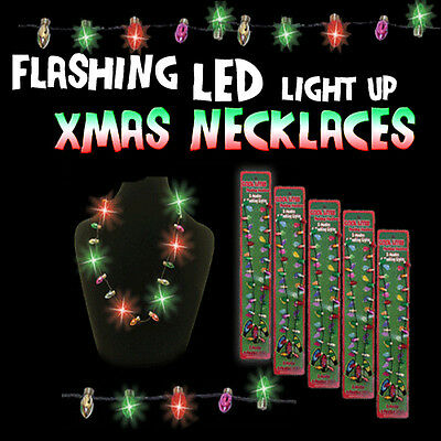 Flashing Fun LED CHRISTMAS LIGHTS Strand Flashing Necklace PARTY FUN - SALE!
