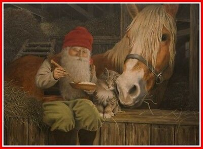 Scandinavian Swedish Christmas Poster Print Horse Tomte Gnome J Bergerlind #0530