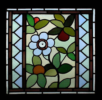 Stunning Art Nouveau Floral Antique English Stained Glass Window • CAD $2,054.56