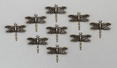 #1441 ANTIQUED GOLD MINI DRAGONFLY W/TOP HANG RING - 12 Pc Lot