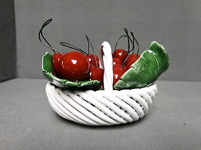 BASKET OF CHERRIES MADE IN ITALY DECORATIVE PORCELAIN BASKET WITH CHERRIES