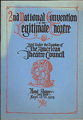 2nd National Convention of the Legitimate Theatre Program 1938 Alfred Lunt