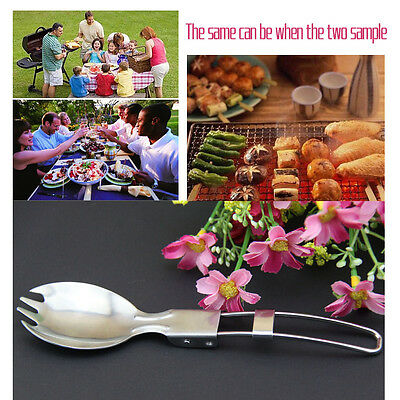 Stainless Steel Folding Spork Spoon Fork Cutlery Cookware Flatware Camping New