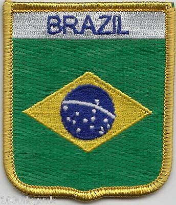 Brazil Flag Shield Embroidered Patch Badge *