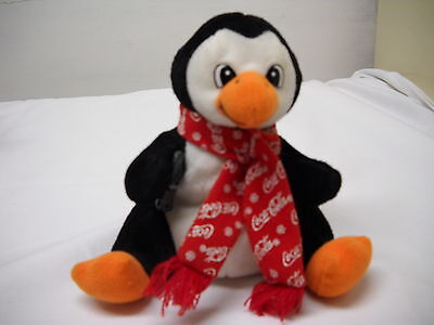 Coca-Cola 1998 PENGUIN Plush Bean Bag Beanie*RED SCARF*COKE*NWT*Cola*FREE SHIP