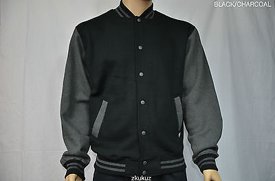 1 NEW PRO CLUB VARSITY JACKET BASEBALL BLACK/CHARCOAL ProClub S-7XL 1PC