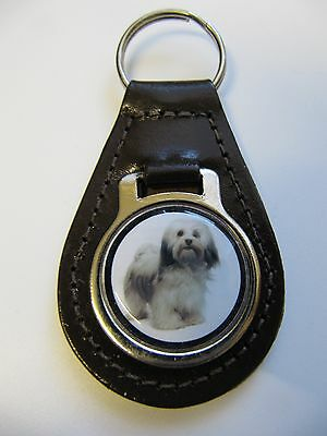 Lhasa Apso Dog Key Ring Leather Fob Ideal Christmas Gift or Stocking Filler 2E