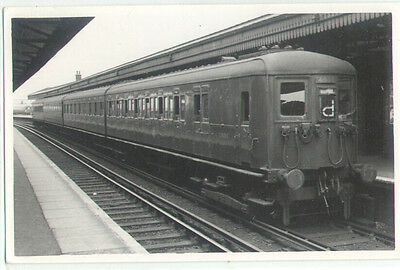 TRAIN in RAILWAY Station, Real Photo old Postcard