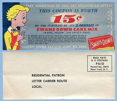 Vintage - Swans Down Cake Mix - Lot Of 8 Coupons - 1955 - General Foods