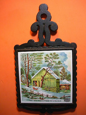 """Trivet- """"The Old Homestead In Winter"""" - Pretty Picture"""