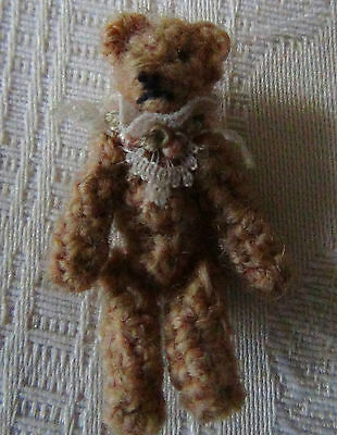 MINIATURE WOOL TEDDY BEAR with LACE COLLAR