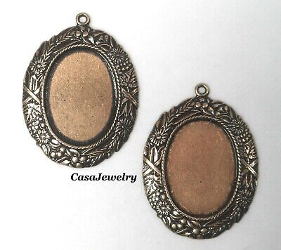 #1729 ANTIQUED GOLD 18X13 BORDERED BEZEL W/TOP HANG RING - 4 Pc Lot