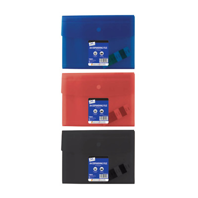 A4 Foolscap 6 Pocket Document Wallet Organiser Expanding Files, Red Blue Black