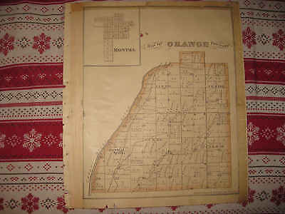 ANTIQUE 1875 ORANGE WASHINGTON TOWNSHIP SHELBY COUNTY OHIO HANDCOLORED MAP NR