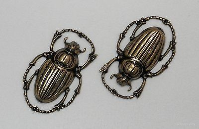 #4157 SMALL ANTIQUED GOLD SCARAB COMPONENT - 2 Pc Lot