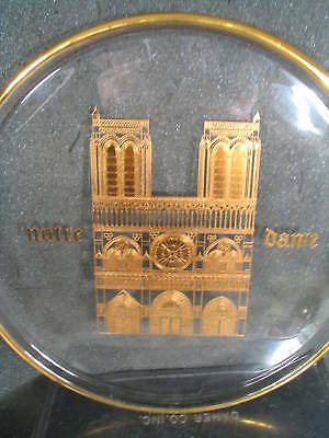 Orrefors 1970 Annual NOTRE DAME MIB Gold on Crystal  Plate