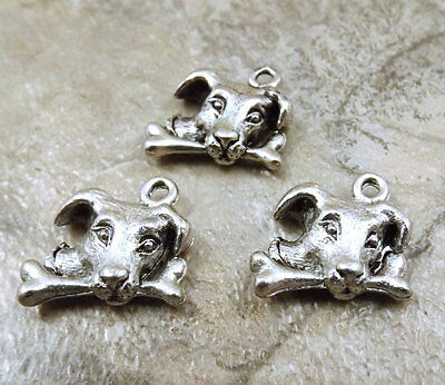 3 Pewter Charms -DOG with BONE - in Antique Finish