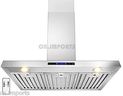 """Stainless Steel 36"""" Kitchen Wall Mount Range Hood Powerful Vent w/ Remote"""