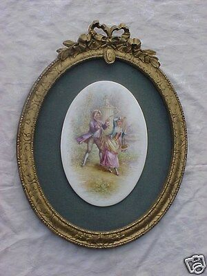 Antique French Hand Painted Porcelain Lady Man Cherub Painting Plaque Large