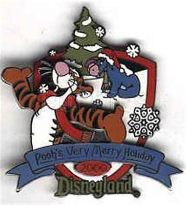 TIGGER & EEYORE In SNOW VERY MERRY HOLIDAY 2000 LE DISNEY XMAS PIN