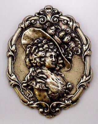 #3331 ANTIQUED GOLD OVAL VICTORIAN GIRL BROOCH - 1 Pc Lot