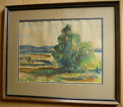 California Colorist Watercolor, Mystery Artist ? Impressionist Impressionism Old