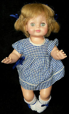 """1965 Vogue 12"""" Ginny Baby Doll in Blue & White - VGC"""