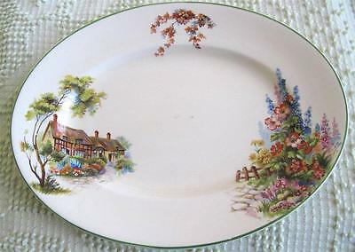 """Woods Ivory Ware English Country Cottage 11"""" Serving Platter Made in England"""